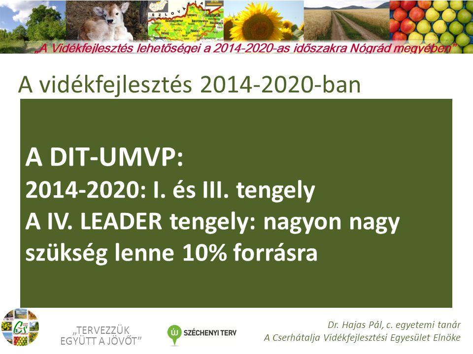A DIT-UMVP: 2014-2020: I. és III. tengely A IV.