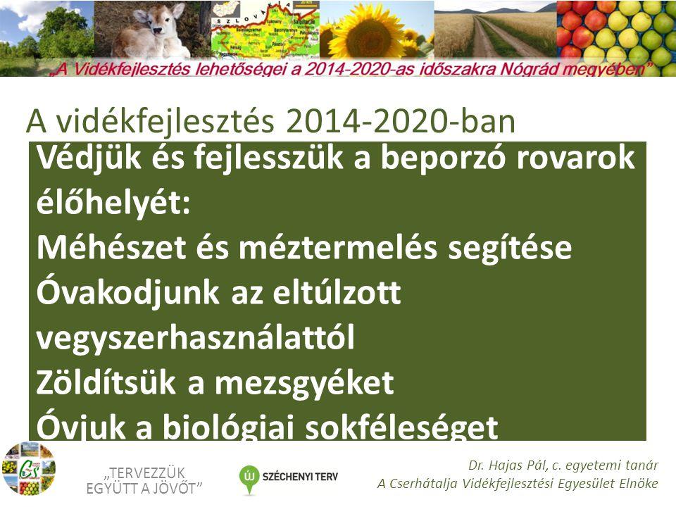 """Védjük és fejlesszük a beporzó rovarok élőhelyét: Méhészet és méztermelés segítése Óvakodjunk az eltúlzott vegyszerhasználattól Zöldítsük a mezsgyéket Óvjuk a biológiai sokféleséget """"TERVEZZÜK EGYÜTT A JÖVŐT Dr."""
