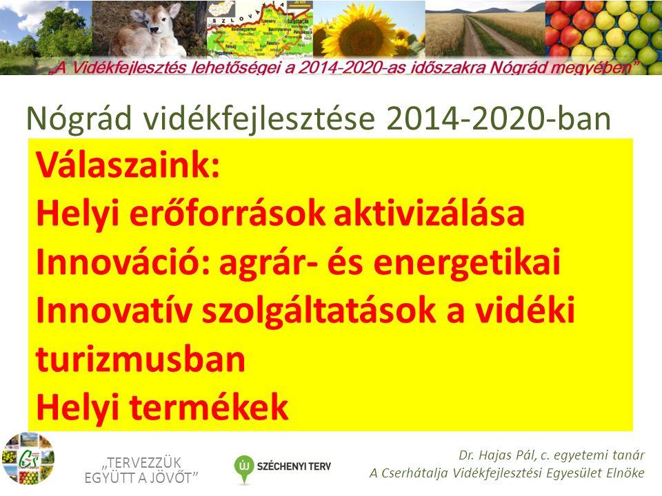 """Válaszaink: Helyi erőforrások aktivizálása Innováció: agrár- és energetikai Innovatív szolgáltatások a vidéki turizmusban Helyi termékek """"TERVEZZÜK EGYÜTT A JÖVŐT Dr."""