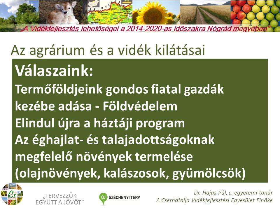 """Válaszaink: Alternatív, kis területen is sok munkát adó növények termelése (illóolaj-, fűszer-, gyógynövények) A gyümölcsösök felújítása, bekapcsolódás az új magyar gyümölcsprogramba (2014- 2020) """"TERVEZZÜK EGYÜTT A JÖVŐT Dr."""