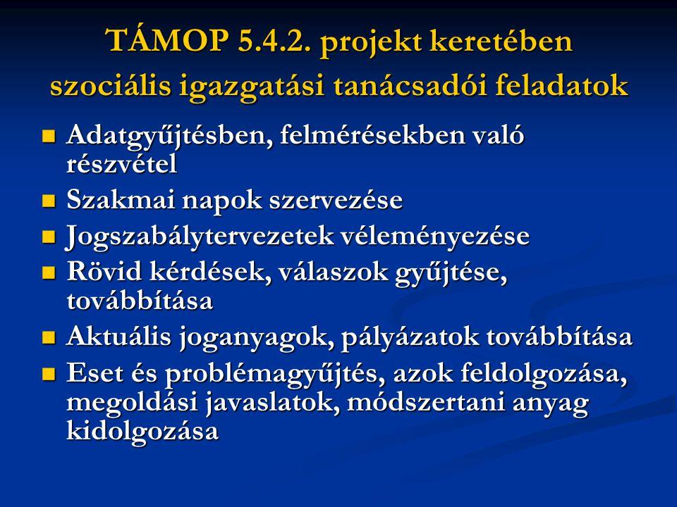 TÁMOP 5.4.2. projekt keretében szociális igazgatási tanácsadói feladatok Adatgyűjtésben, felmérésekben való részvétel Adatgyűjtésben, felmérésekben va