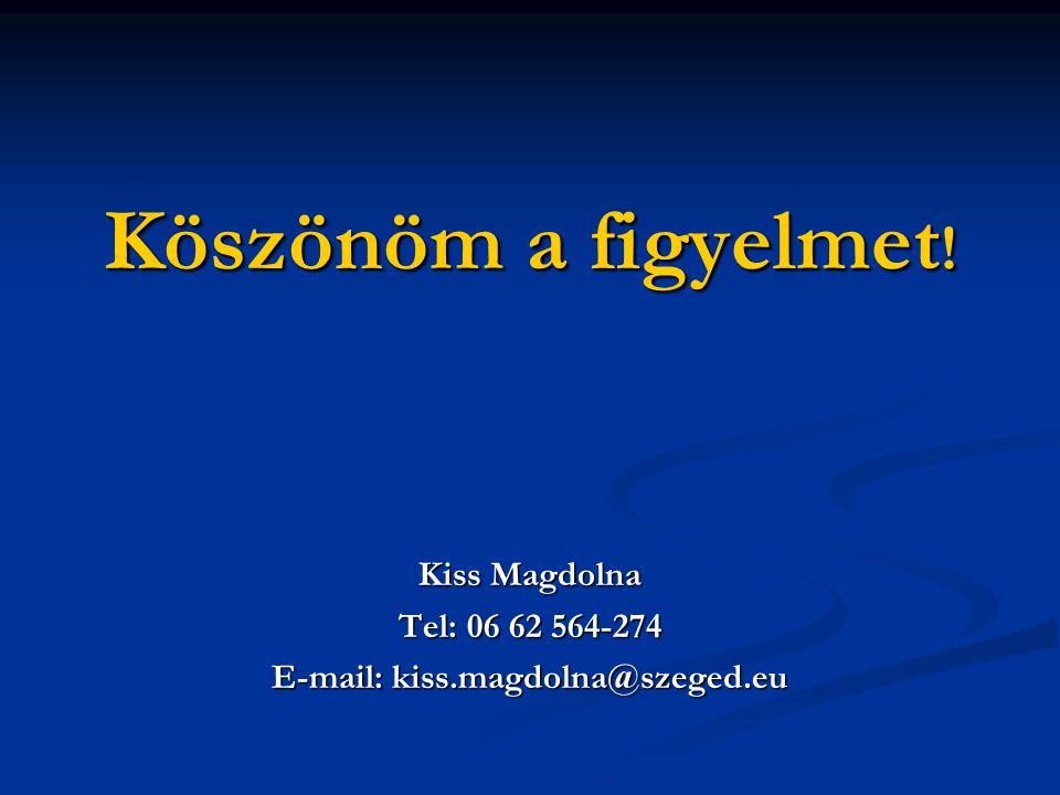 Köszönöm a figyelmet ! Kiss Magdolna Tel: 06 62 564-274 E-mail: kiss.magdolna@szeged.eu