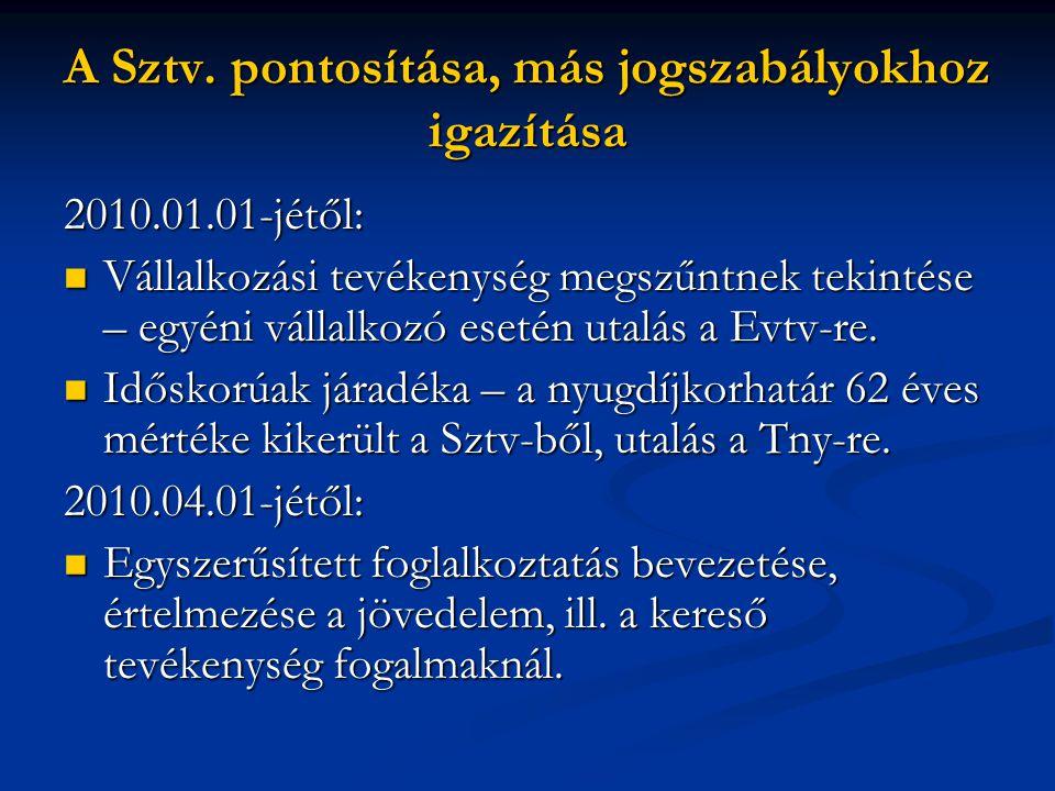 A Sztv. pontosítása, más jogszabályokhoz igazítása 2010.01.01-jétől: Vállalkozási tevékenység megszűntnek tekintése – egyéni vállalkozó esetén utalás