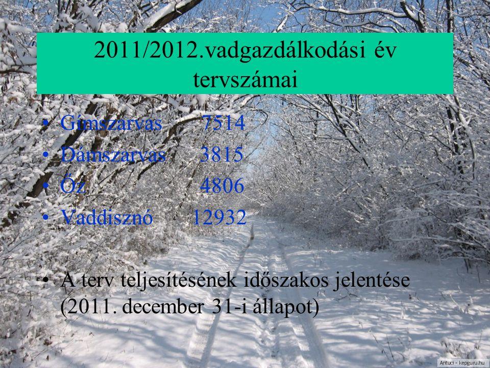 2011/2012.vadgazdálkodási év tervszámai Gímszarvas 7514 Dámszarvas 3815 Őz 4806 Vaddisznó 12932 A terv teljesítésének időszakos jelentése (2011.