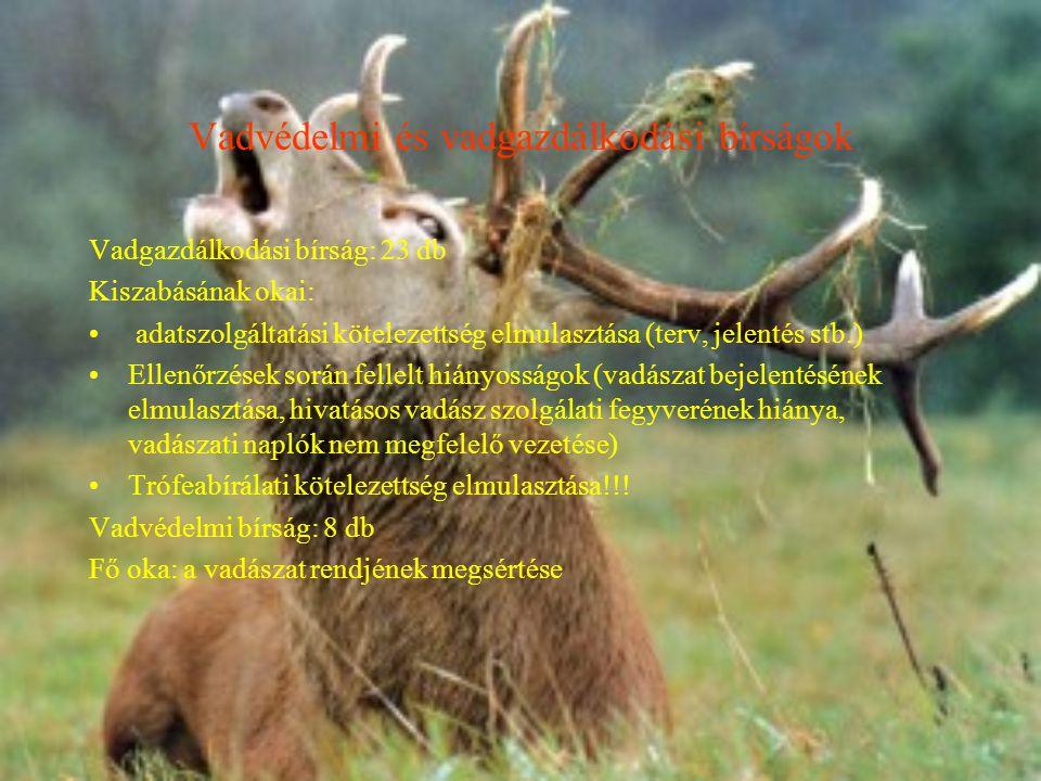 Vadvédelmi és vadgazdálkodási bírságok Vadgazdálkodási bírság: 23 db Kiszabásának okai: adatszolgáltatási kötelezettség elmulasztása (terv, jelentés stb.) Ellenőrzések során fellelt hiányosságok (vadászat bejelentésének elmulasztása, hivatásos vadász szolgálati fegyverének hiánya, vadászati naplók nem megfelelő vezetése) Trófeabírálati kötelezettség elmulasztása!!.