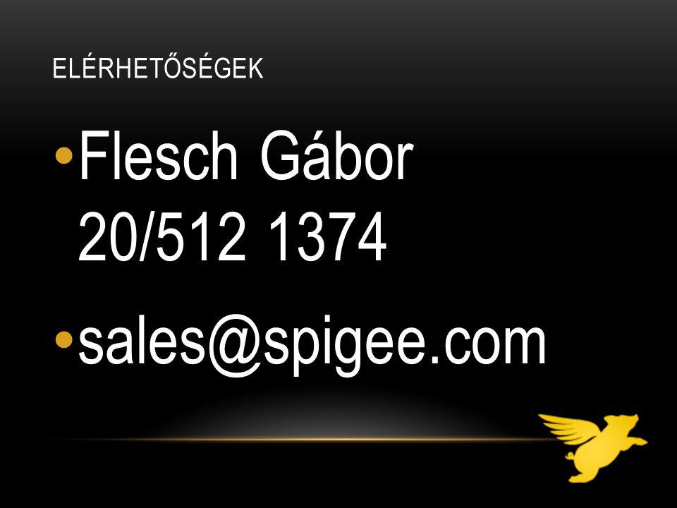 ELÉRHETŐSÉGEK Flesch Gábor 20/512 1374 sales@spigee.com