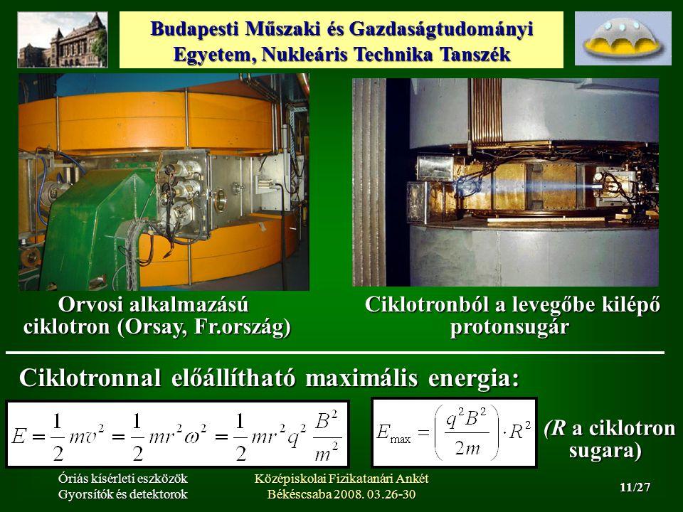 Budapesti Műszaki és Gazdaságtudományi Egyetem, Nukleáris Technika Tanszék 11/27 Óriás kísérleti eszközök Gyorsítók és detektorok Középiskolai Fizikatanári Ankét Békéscsaba 2008.