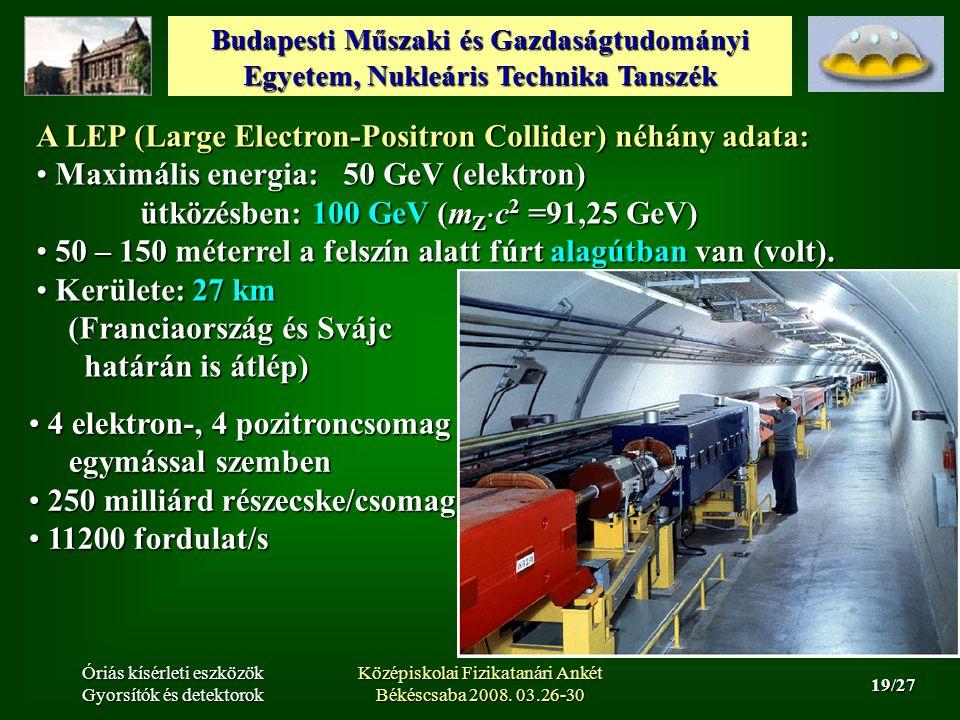 Budapesti Műszaki és Gazdaságtudományi Egyetem, Nukleáris Technika Tanszék 19/27 Óriás kísérleti eszközök Gyorsítók és detektorok Középiskolai Fizikatanári Ankét Békéscsaba 2008.