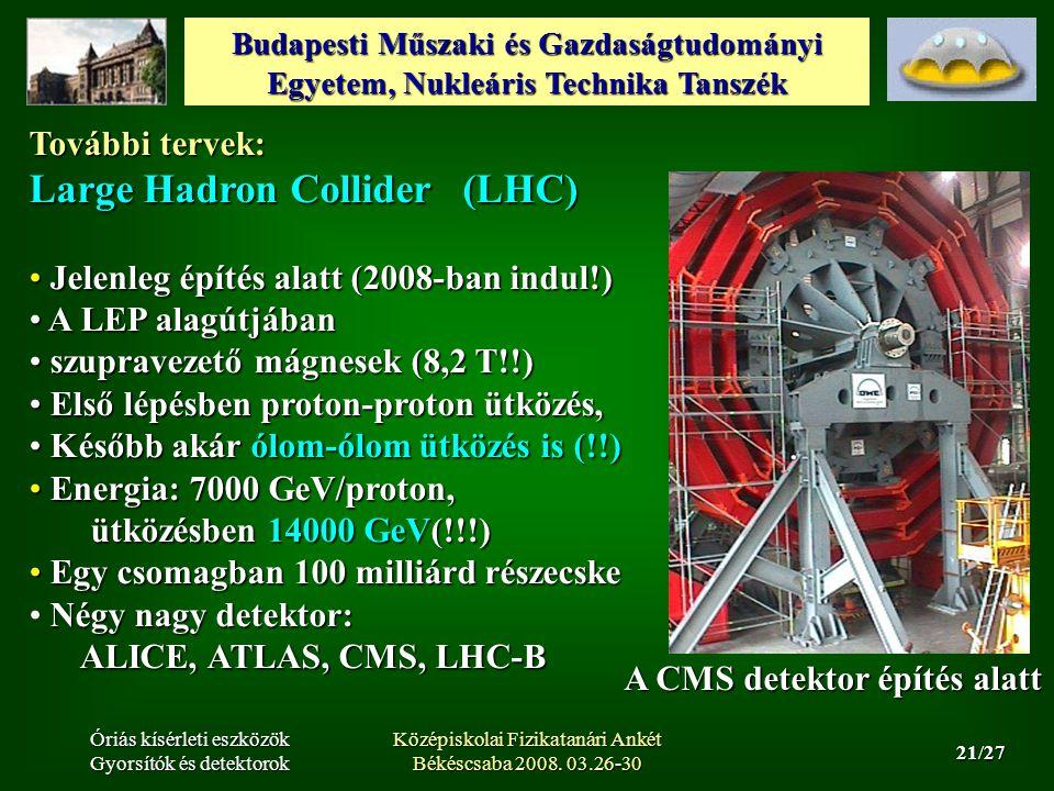 Budapesti Műszaki és Gazdaságtudományi Egyetem, Nukleáris Technika Tanszék 21/27 Óriás kísérleti eszközök Gyorsítók és detektorok Középiskolai Fizikatanári Ankét Békéscsaba 2008.
