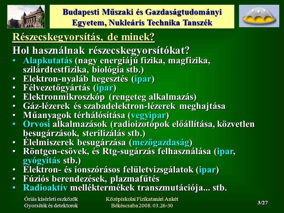 Budapesti Műszaki és Gazdaságtudományi Egyetem, Nukleáris Technika Tanszék 14/27 Óriás kísérleti eszközök Gyorsítók és detektorok Középiskolai Fizikatanári Ankét Békéscsaba 2008.
