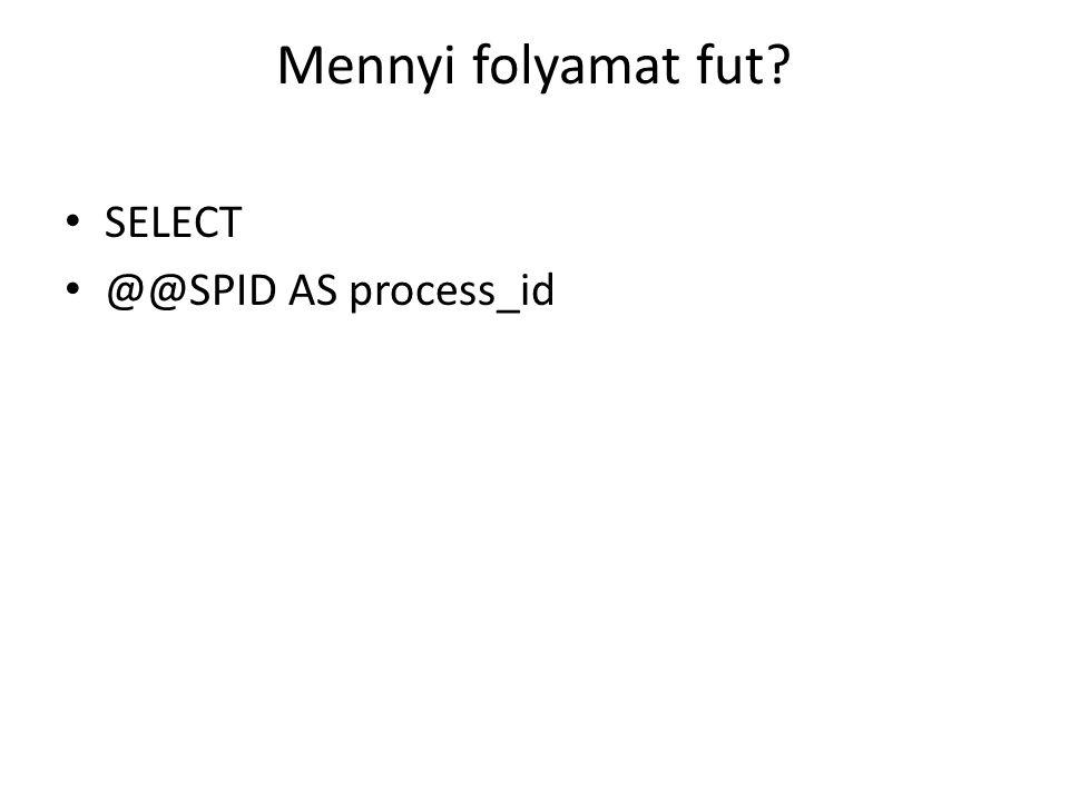 Mennyi folyamat fut SELECT @@SPID AS process_id