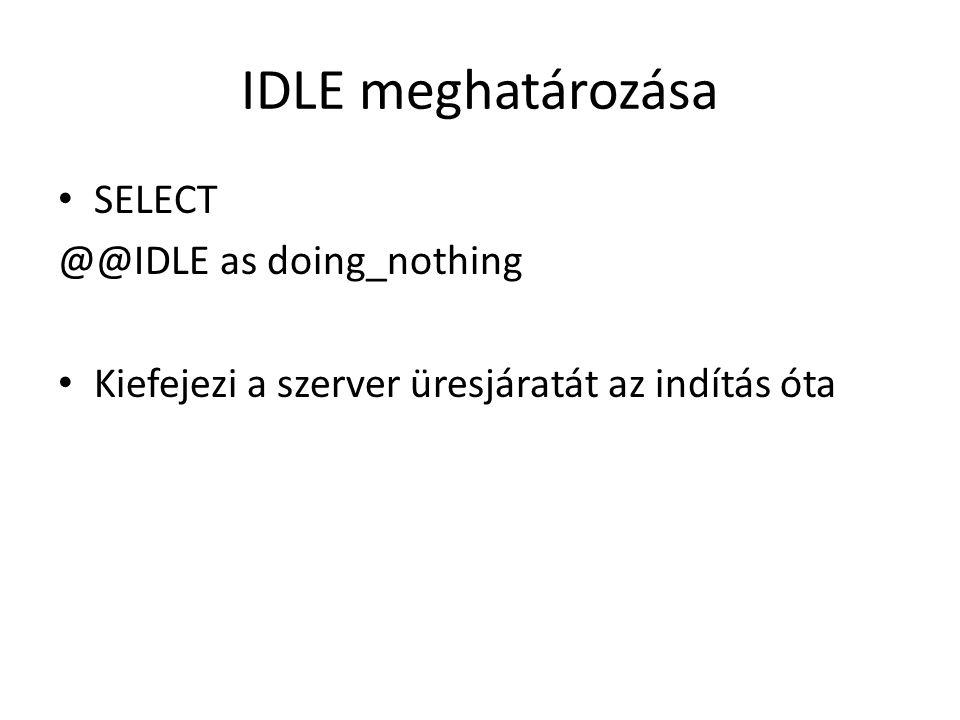 IDLE meghatározása SELECT @@IDLE as doing_nothing Kiefejezi a szerver üresjáratát az indítás óta