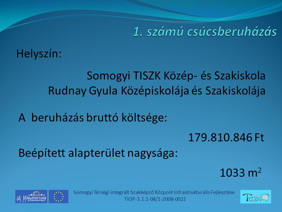 Helyszín: Somogyi Térségi integrált Szakképző Központ Infrastrukturális Fejlesztése TIOP-3.1.1-08/1-2008-0021 Somogyi TISZK Közép- és Szakiskola Rudnay Gyula Középiskolája és Szakiskolája A beruházás bruttó költsége: Beépített alapterület nagysága: 179.810.846 Ft 1033 m 2