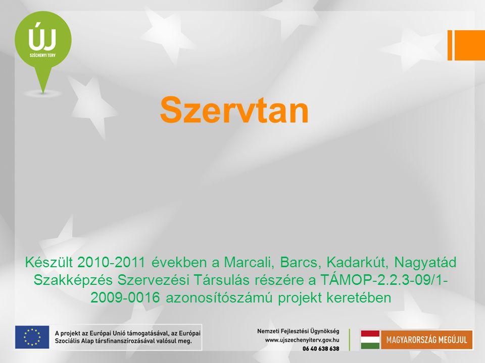 Szervtan Készült 2010-2011 években a Marcali, Barcs, Kadarkút, Nagyatád Szakképzés Szervezési Társulás részére a TÁMOP-2.2.3-09/1- 2009-0016 azonosítószámú projekt keretében