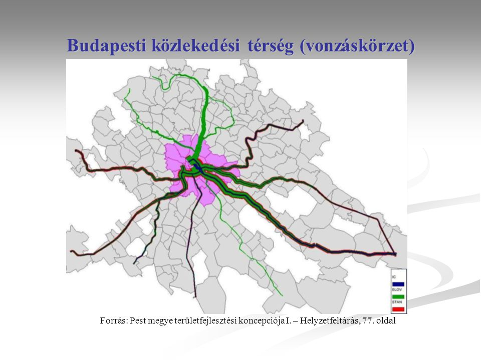 Budapesti közlekedési térség (vonzáskörzet) Forrás: Pest megye területfejlesztési koncepciója I.