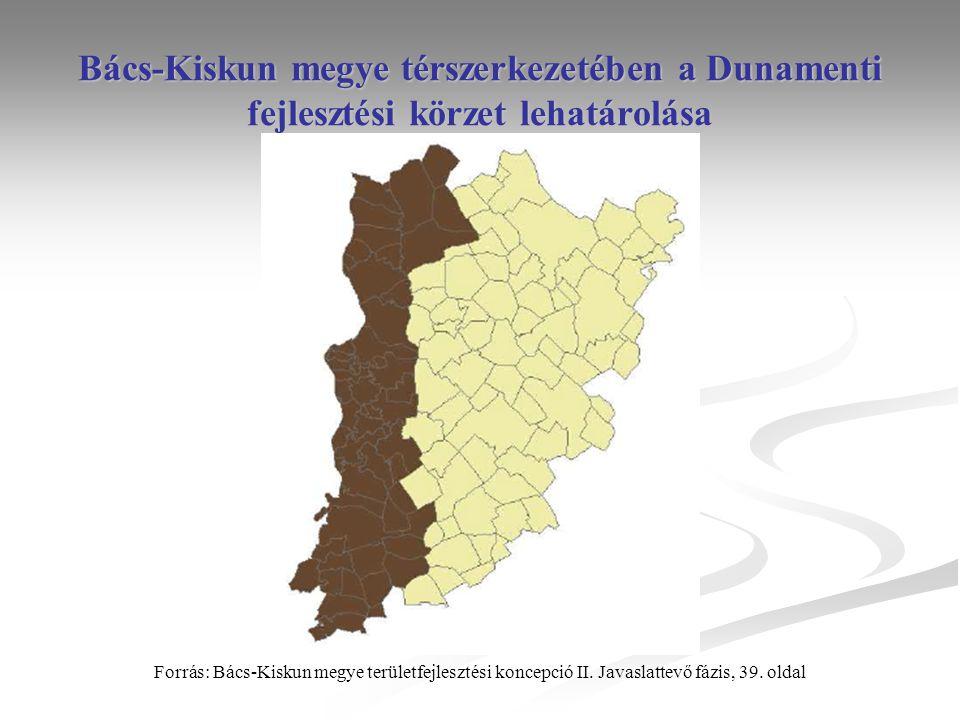 Bács-Kiskun megye térszerkezetében a Dunamenti fejlesztési körzet lehatárolása Forrás: Bács-Kiskun megye területfejlesztési koncepció II.