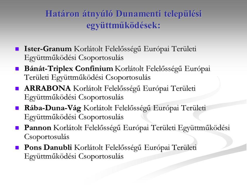 Határon átnyúló Dunamenti települési együttműködések: Ister-Granum Korlátolt Felelősségű Európai Területi Együttműködési Csoportosulás Ister-Granum Korlátolt Felelősségű Európai Területi Együttműködési Csoportosulás Bánát-Triplex Confinium Korlátolt Felelősségű Európai Területi Együttműködési Csoportosulás Bánát-Triplex Confinium Korlátolt Felelősségű Európai Területi Együttműködési Csoportosulás ARRABONA Korlátolt Felelősségű Európai Területi Együttműködési Csoportosulás ARRABONA Korlátolt Felelősségű Európai Területi Együttműködési Csoportosulás Rába-Duna-Vág Korlátolt Felelősségű Európai Területi Együttműködési Csoportosulás Rába-Duna-Vág Korlátolt Felelősségű Európai Területi Együttműködési Csoportosulás Pannon Korlátolt Felelősségű Európai Területi Együttműködési Csoportosulás Pannon Korlátolt Felelősségű Európai Területi Együttműködési Csoportosulás Pons Danubli Korlátolt Felelősségű Európai Területi Együttműködési Csoportosulás Pons Danubli Korlátolt Felelősségű Európai Területi Együttműködési Csoportosulás