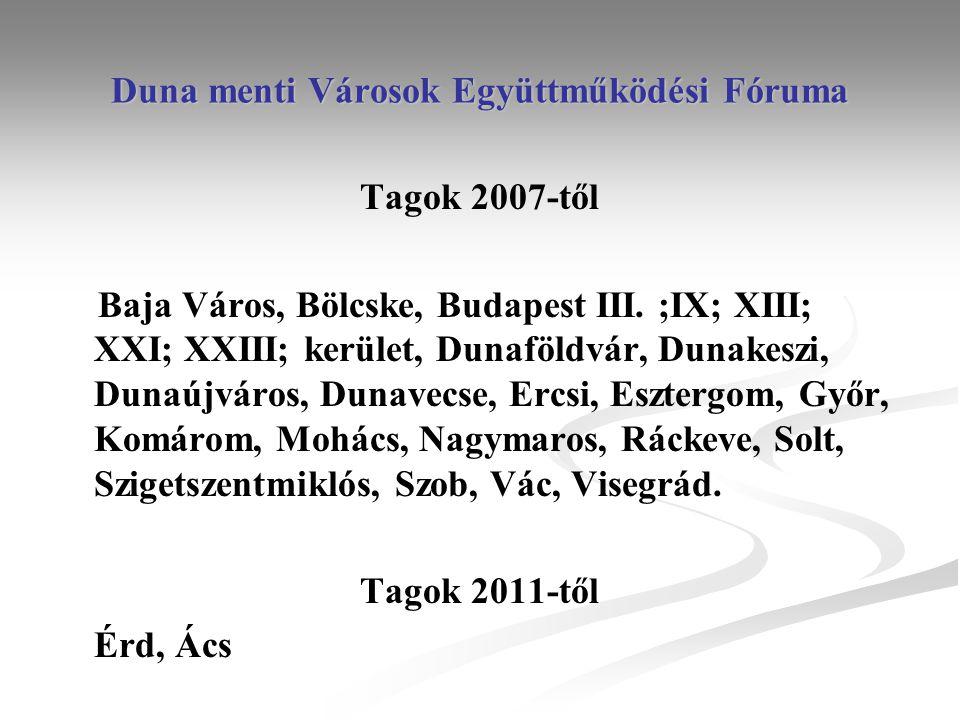 Duna menti Városok Együttműködési Fóruma Tagok 2007-től Baja Város, Bölcske, Budapest III.