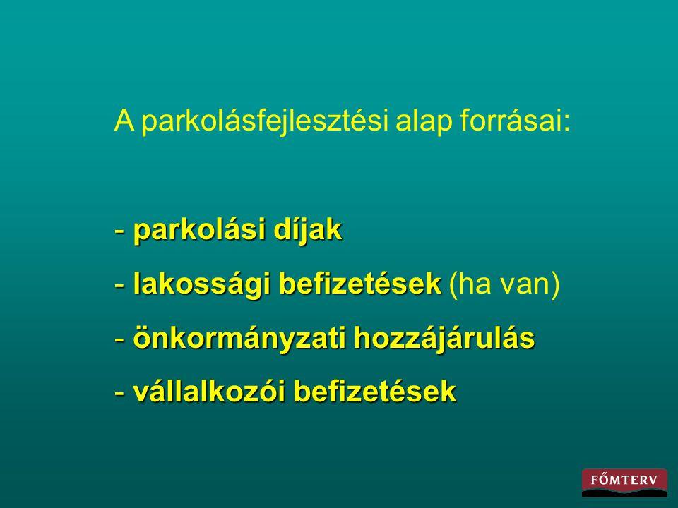 A parkolásfejlesztési alap forrásai: - parkolási díjak - lakossági befizetések - lakossági befizetések (ha van) - önkormányzati hozzájárulás - vállalk