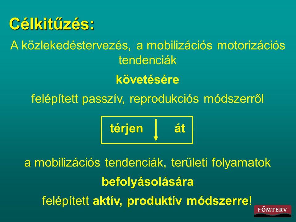 Célkitűzés: A közlekedéstervezés, a mobilizációs motorizációs tendenciák követésére felépített passzív, reprodukciós módszerről térjen át a mobilizáci