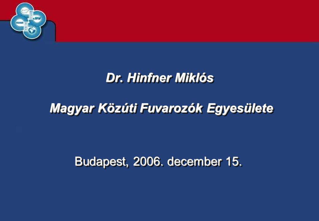 Dr. Hinfner Miklós Magyar Közúti Fuvarozók Egyesülete Budapest, 2006. december 15.