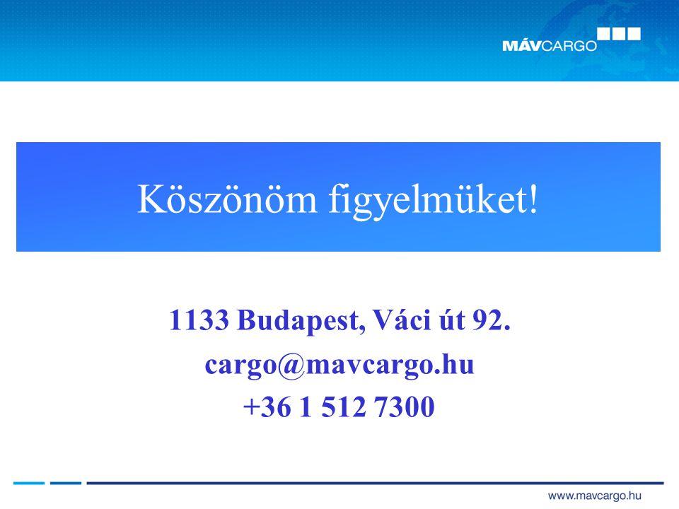 Köszönöm figyelmüket! 1133 Budapest, Váci út 92. cargo@mavcargo.hu +36 1 512 7300