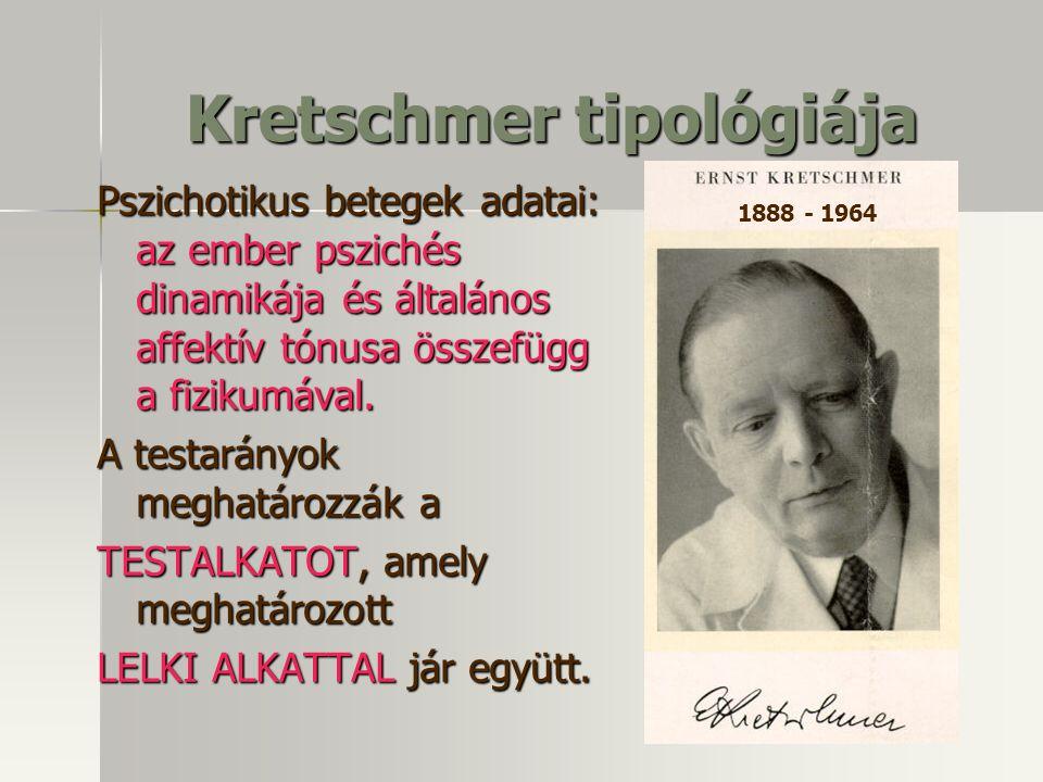 Kretschmer tipológiája Pszichotikus betegek adatai: az ember pszichés dinamikája és általános affektív tónusa összefügg a fizikumával.