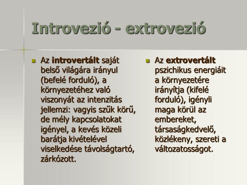 Introvezió - extrovezió Az introvertált saját belső világára irányul (befelé forduló), a környezetéhez való viszonyát az intenzitás jellemzi: vagyis szűk körű, de mély kapcsolatokat igényel, a kevés közeli barátja kivételével viselkedése távolságtartó, zárkózott.