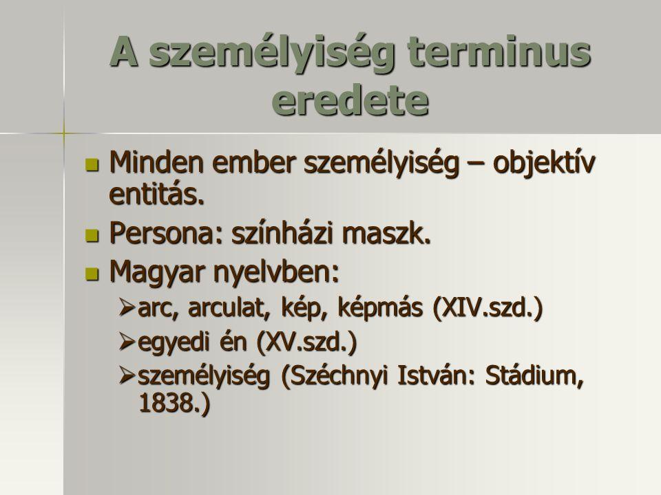 A személyiség terminus eredete Minden ember személyiség – objektív entitás. Persona: színházi maszk. Magyar nyelvben: aaaarc, arculat, kép, képmás