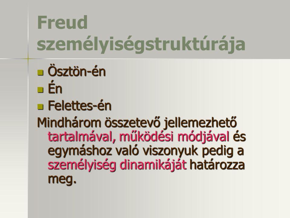 Freud személyiségstruktúrája Ösztön-én Ösztön-én Én Én Felettes-én Felettes-én Mindhárom összetevő jellemezhető tartalmával, működési módjával és egymáshoz való viszonyuk pedig a személyiség dinamikáját határozza meg.