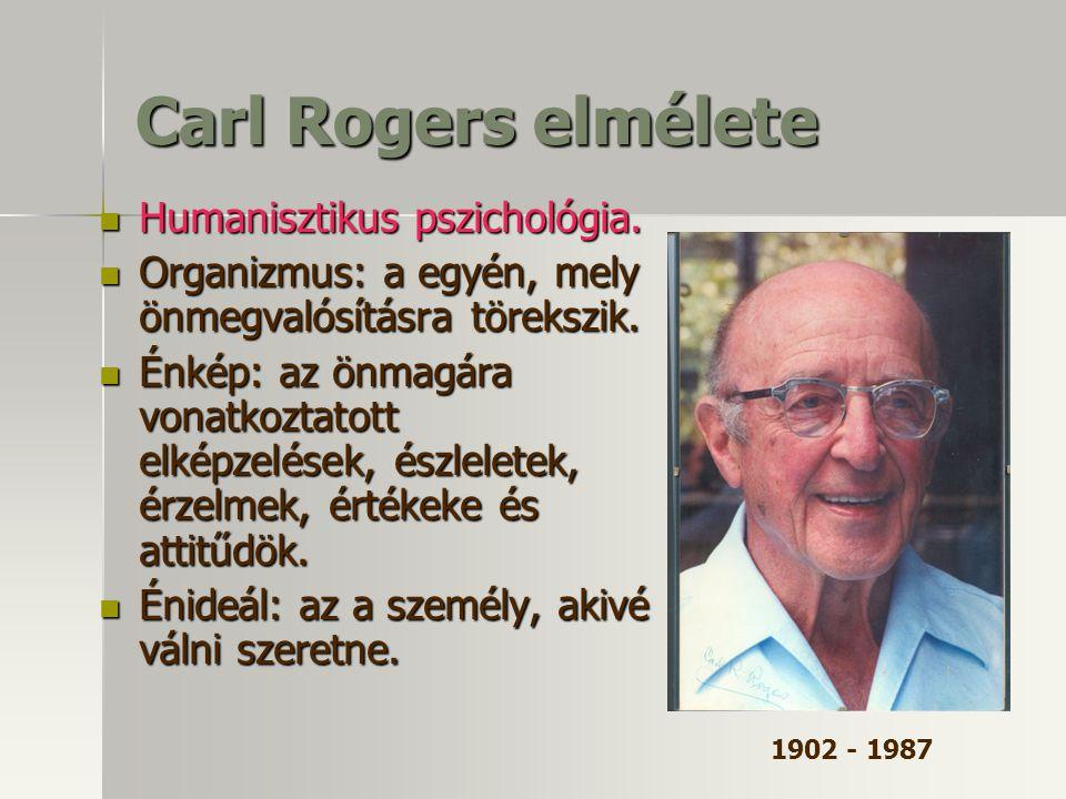 Carl Rogers elmélete Humanisztikus pszichológia. Humanisztikus pszichológia. Organizmus: a egyén, mely önmegvalósításra törekszik. Organizmus: a egyén