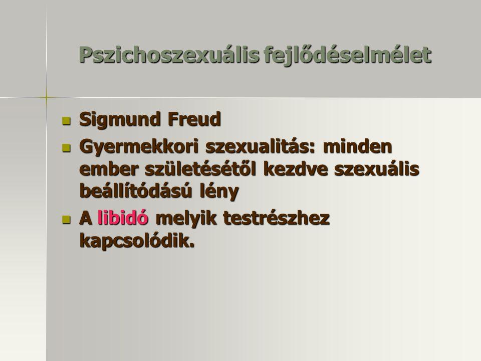 Pszichoszexuális fejlődéselmélet Sigmund Freud Sigmund Freud Gyermekkori szexualitás: minden ember születésétől kezdve szexuális beállítódású lény Gyermekkori szexualitás: minden ember születésétől kezdve szexuális beállítódású lény A libidó melyik testrészhez kapcsolódik.