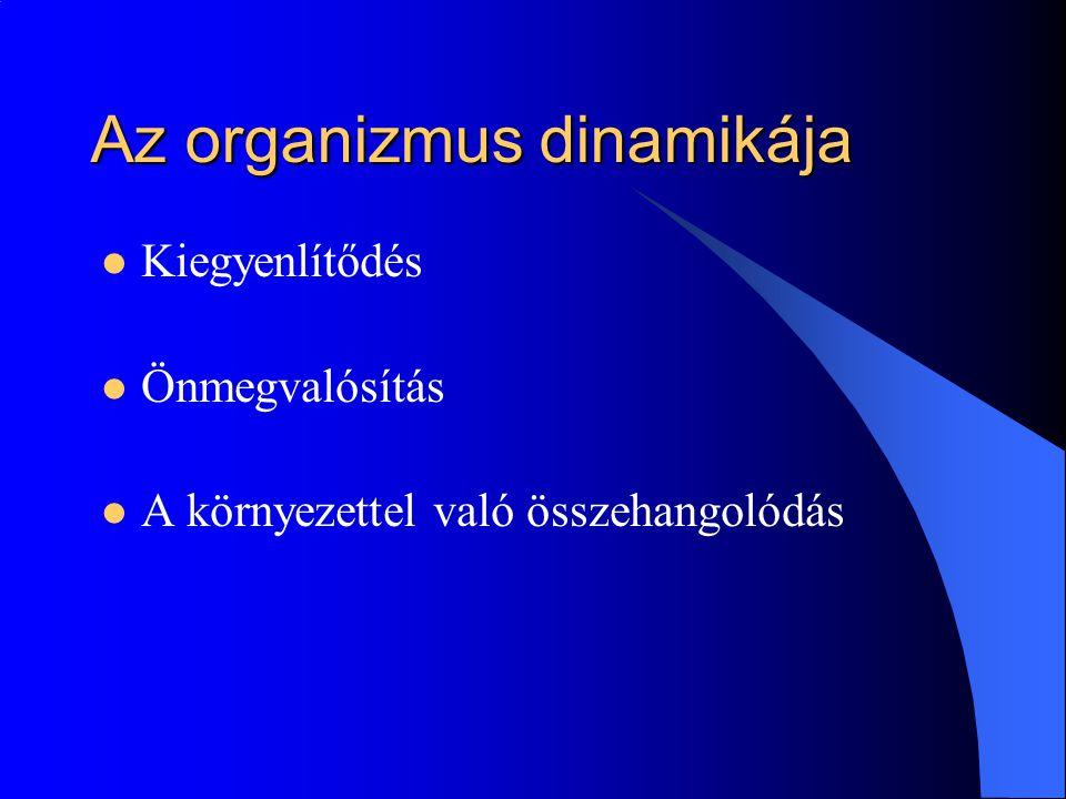 Az organizmus dinamikája Kiegyenlítődés Önmegvalósítás A környezettel való összehangolódás