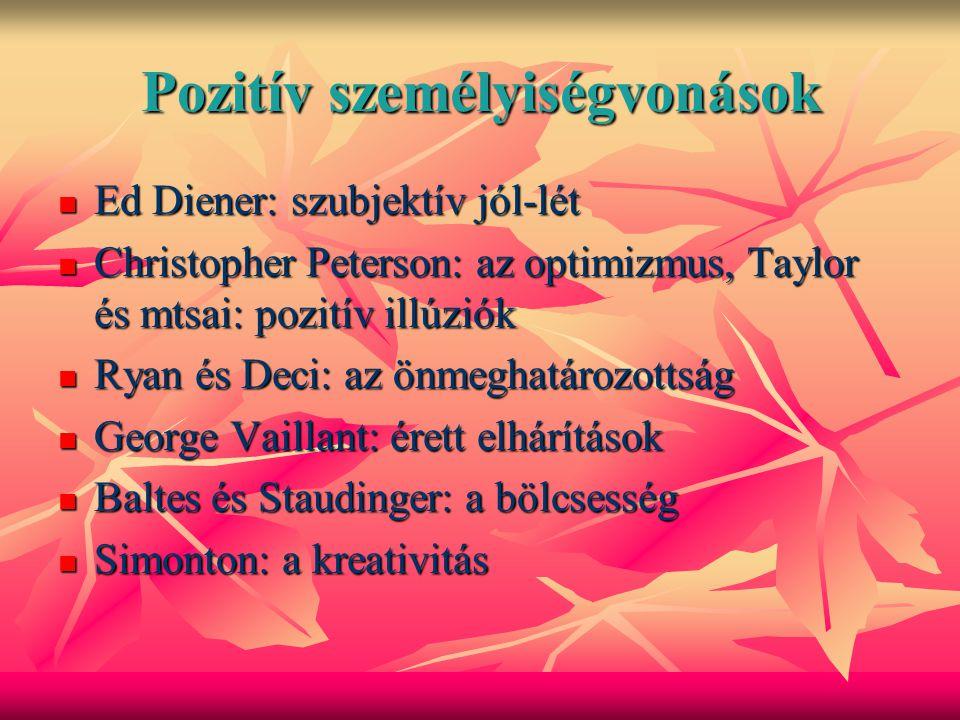 Pozitív személyiségvonások Ed Diener: szubjektív jól-lét Ed Diener: szubjektív jól-lét Christopher Peterson: az optimizmus, Taylor és mtsai: pozitív i