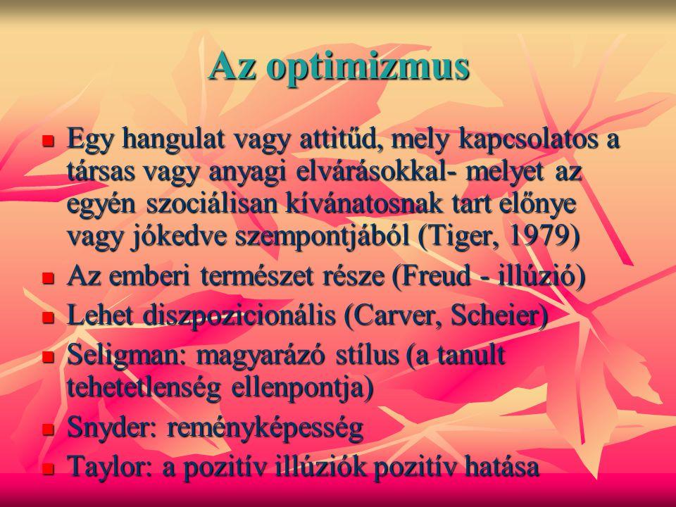 Az optimizmus Egy hangulat vagy attitűd, mely kapcsolatos a társas vagy anyagi elvárásokkal- melyet az egyén szociálisan kívánatosnak tart előnye vagy