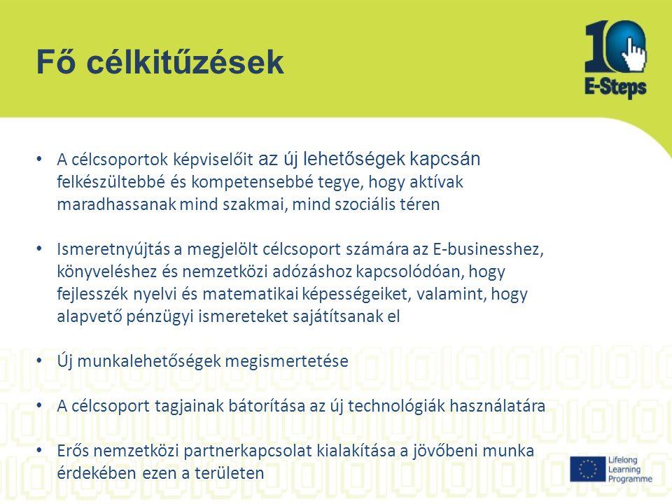 Fő célkitűzések A célcsoportok képviselőit az új lehetőségek kapcsán felkészültebbé és kompetensebbé tegye, hogy aktívak maradhassanak mind szakmai, mind szociális téren Ismeretnyújtás a megjelölt célcsoport számára az E-businesshez, könyveléshez és nemzetközi adózáshoz kapcsolódóan, hogy fejlesszék nyelvi és matematikai képességeiket, valamint, hogy alapvető pénzügyi ismereteket sajátítsanak el Új munkalehetőségek megismertetése A célcsoport tagjainak bátorítása az új technológiák használatára Erős nemzetközi partnerkapcsolat kialakítása a jövőbeni munka érdekében ezen a területen