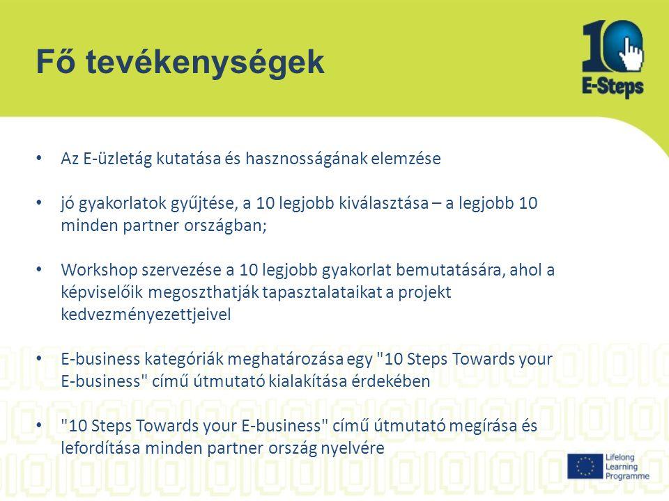 Fő tevékenységek Az E-üzletág kutatása és hasznosságának elemzése jó gyakorlatok gyűjtése, a 10 legjobb kiválasztása – a legjobb 10 minden partner országban; Workshop szervezése a 10 legjobb gyakorlat bemutatására, ahol a képviselőik megoszthatják tapasztalataikat a projekt kedvezményezettjeivel E-business kategóriák meghatározása egy 10 Steps Towards your E-business című útmutató kialakítása érdekében 10 Steps Towards your E-business című útmutató megírása és lefordítása minden partner ország nyelvére