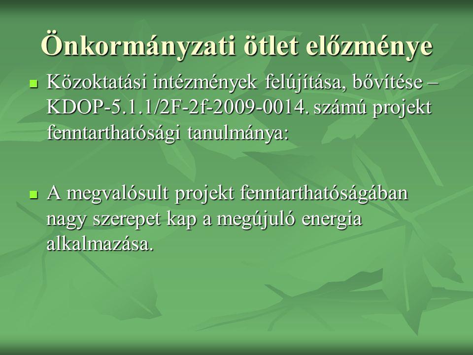 Önkormányzati ötlet előzménye Közoktatási intézmények felújítása, bővítése – KDOP-5.1.1/2F-2f-2009-0014.