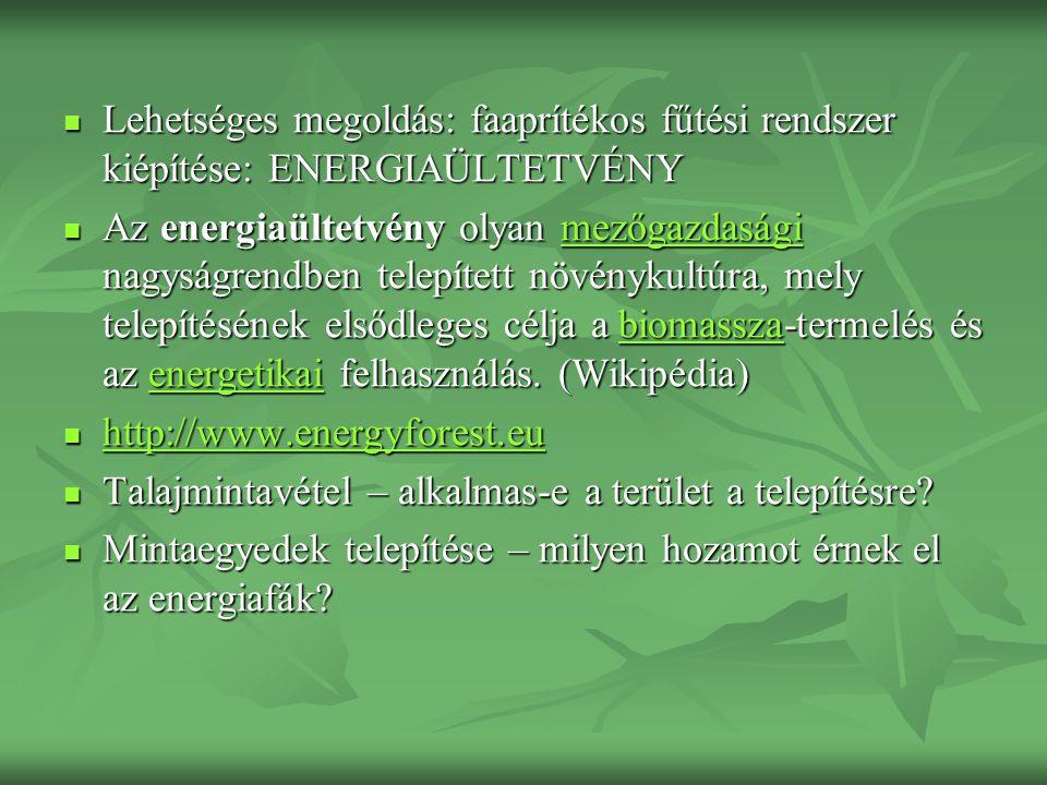 Lehetséges megoldás: faaprítékos fűtési rendszer kiépítése: ENERGIAÜLTETVÉNY Lehetséges megoldás: faaprítékos fűtési rendszer kiépítése: ENERGIAÜLTETVÉNY Az energiaültetvény olyan mezőgazdasági nagyságrendben telepített növénykultúra, mely telepítésének elsődleges célja a biomassza-termelés és az energetikai felhasználás.