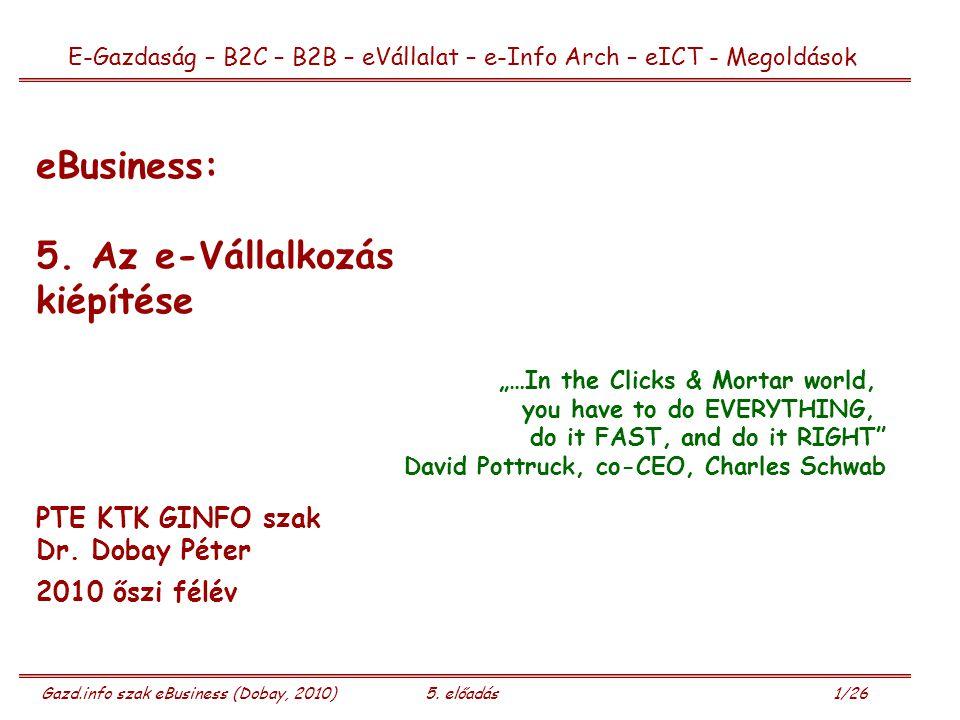 Gazd.info szak eBusiness (Dobay, 2010)5. előadás 1/26 eBusiness: 5.