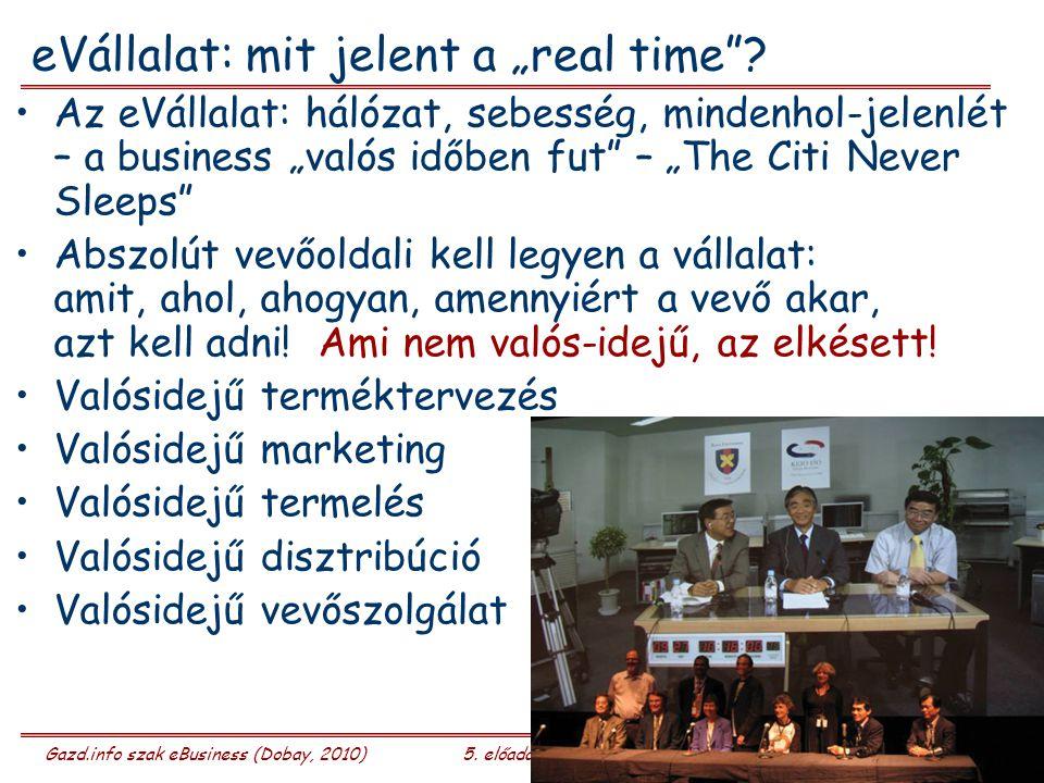"""Gazd.info szak eBusiness (Dobay, 2010)5. előadás 24/26 eVállalat: mit jelent a """"real time ."""