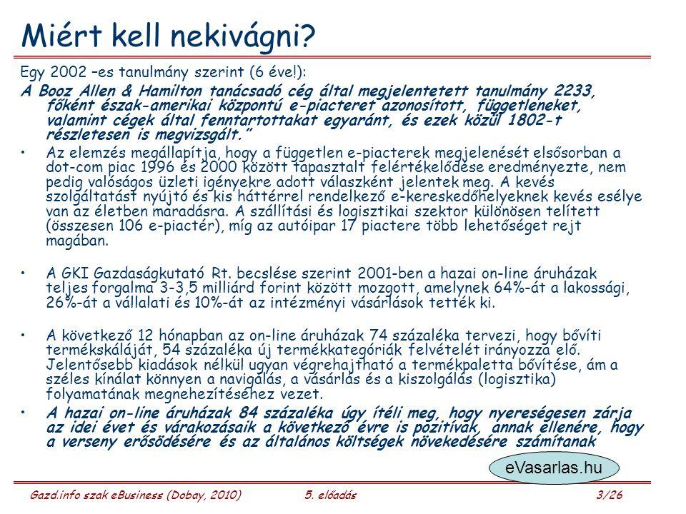 Gazd.info szak eBusiness (Dobay, 2010)5. előadás 3/26 Miért kell nekivágni.