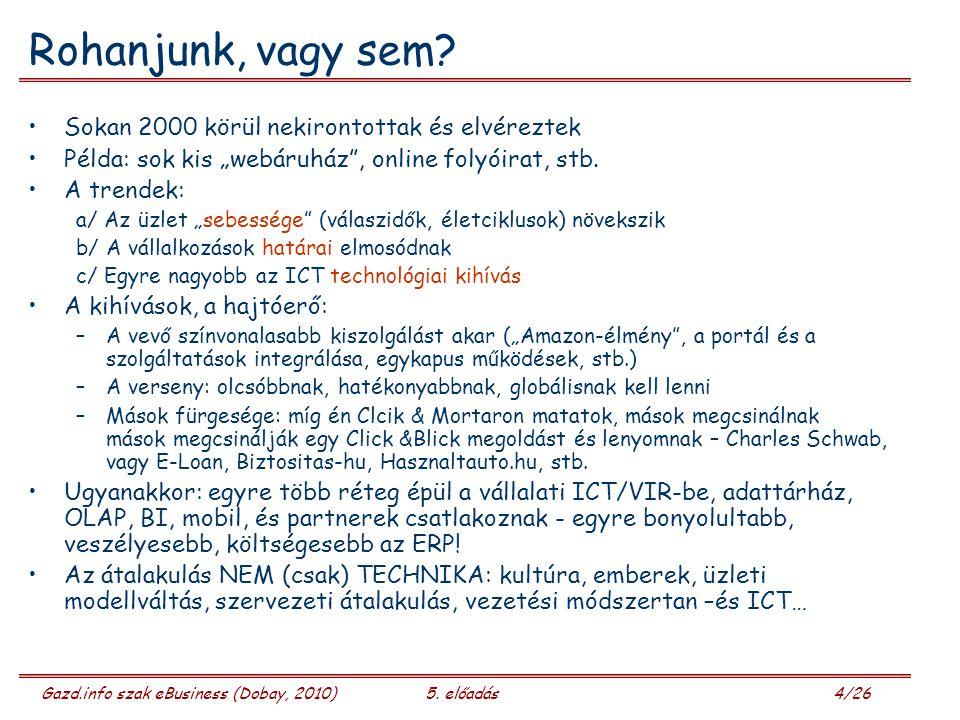 Gazd.info szak eBusiness (Dobay, 2010)5. előadás 4/26 Rohanjunk, vagy sem.