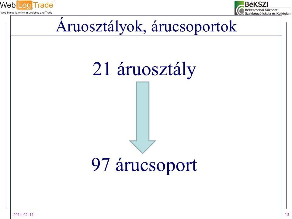 2014. 07. 11. 13 Áruosztályok, árucsoportok 21 áruosztály 97 árucsoport