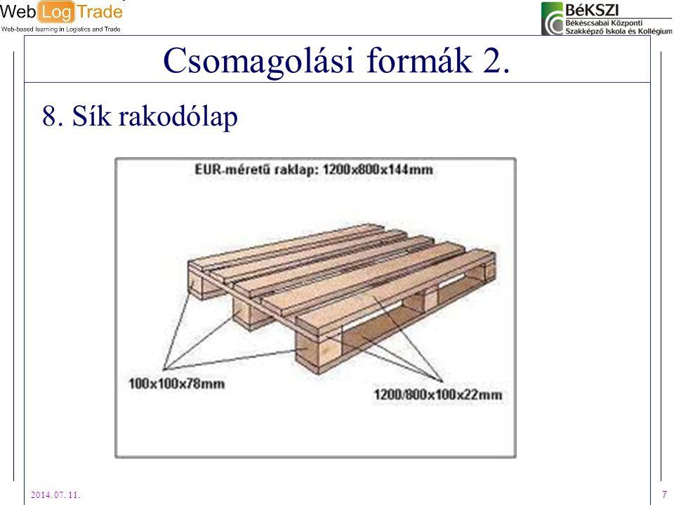 2014. 07. 11. 7 Csomagolási formák 2. 8. Sík rakodólap
