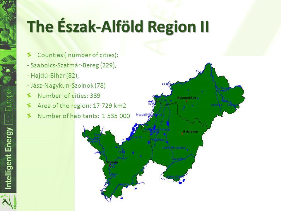 The Észak-Alföld Region II Counties ( number of cities): - Szabolcs-Szatmár-Bereg (229), - Hajdú-Bihar (82), - Jász-Nagykun-Szolnok (78) Number of cities: 389 Area of the region: 17 729 km2 Number of habitants: 1 535 000