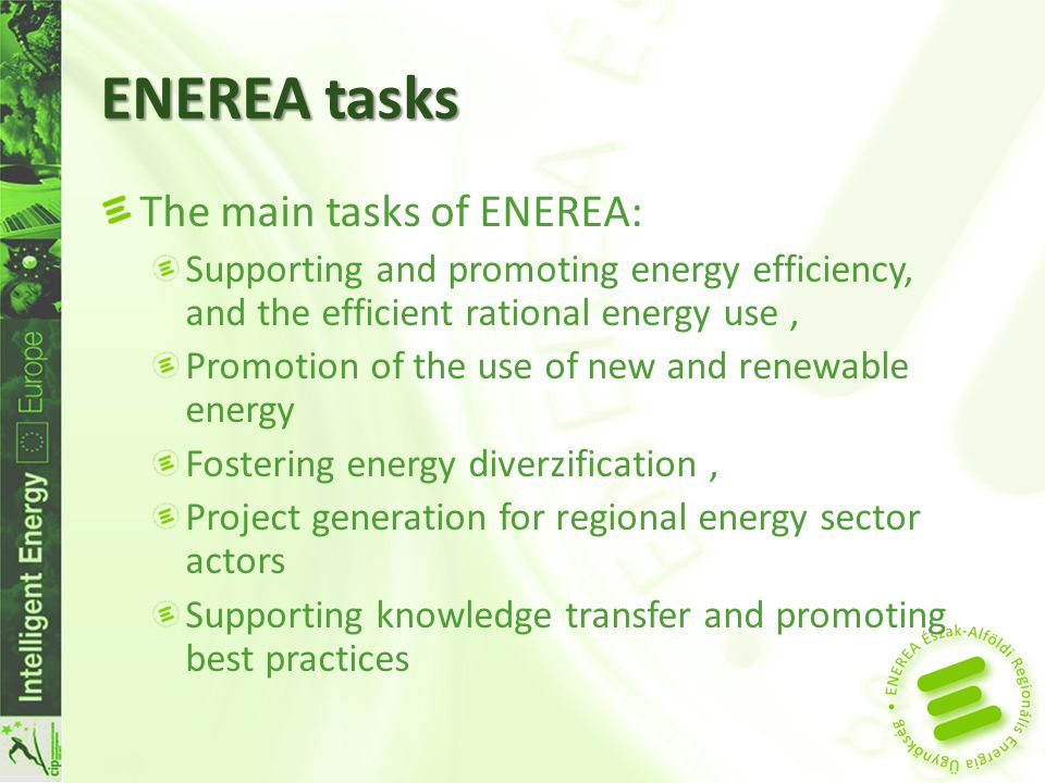 ENEREA tasks II The main tasks of ENEREA (cont.) Energy planning - Three Energy Strategies for settlements during 2011 Sector activities (promotions, conferences), Horizontal activities (trainings, energy marketing, writing applications, project management),