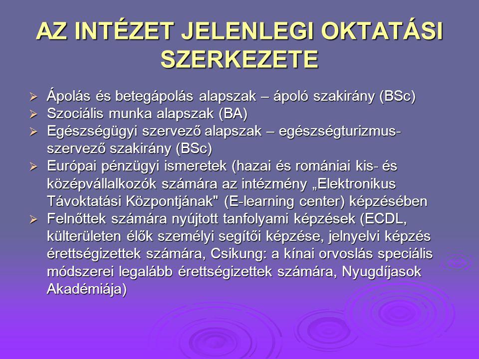 AZ INTÉZET JELENLEGI OKTATÁSI SZERKEZETE  Ápolás és betegápolás alapszak – ápoló szakirány (BSc)  Szociális munka alapszak (BA)  Egészségügyi szerv