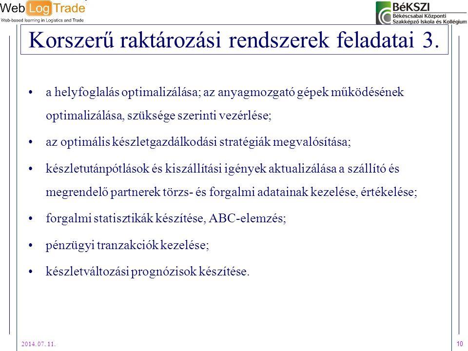 2014. 07. 11. 10 Korszerű raktározási rendszerek feladatai 3. a helyfoglalás optimalizálása; az anyagmozgató gépek működésének optimalizálása, szükség