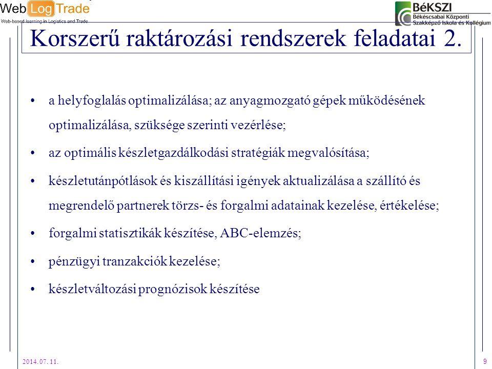 2014. 07. 11. 9 Korszerű raktározási rendszerek feladatai 2. a helyfoglalás optimalizálása; az anyagmozgató gépek működésének optimalizálása, szüksége